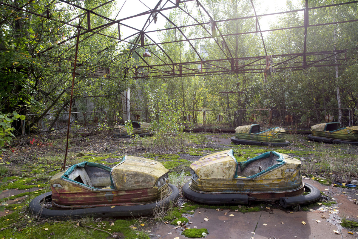 Bumper cars at an amusement park in the abandoned city of Pripyat in Ukraine.